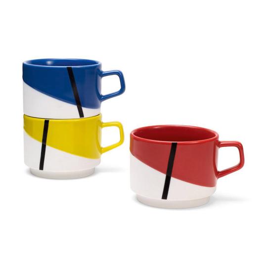 3 Stapeltassen »De Stijl« nach Mondrian.