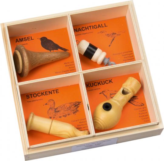 4 Vogelstimmen im Set: Amsel, Nachtigall, Stockente, Kuckuck.