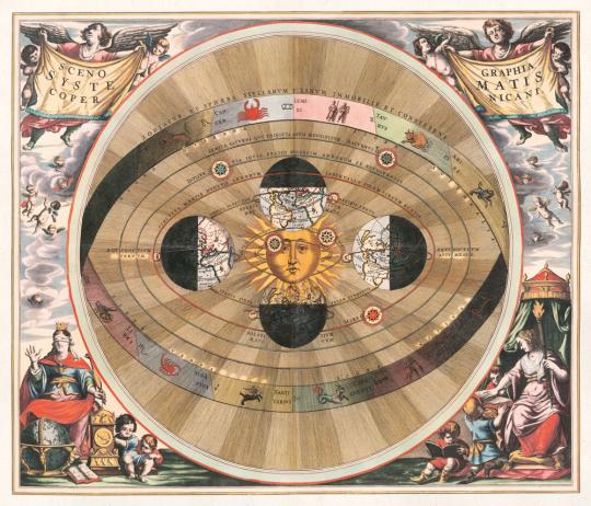 Andreas Cellarius. »Scenographia systematis Copernicani« (1510).
