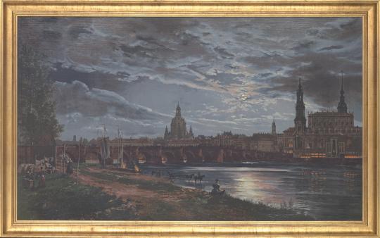 Blick auf Dresden bei Vollmond. Johan Christian Clausen Dahl (1788-1857).