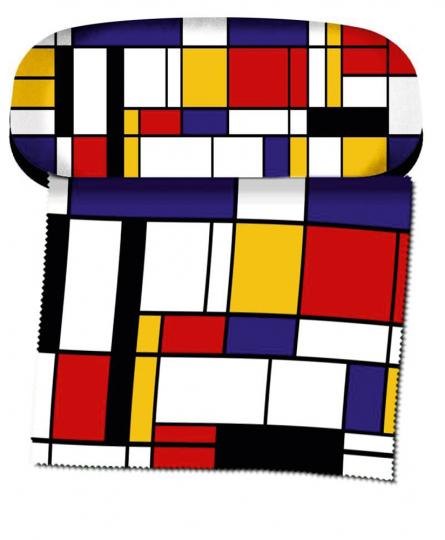 Brillenetui Piet Mondrian »Komposition mit Rot, Gelb, Blau und Schwarz«.
