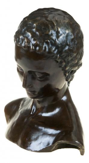 Bronzebüste Wilhelm Lehmbruck »Geneigter Frauenkopf«.