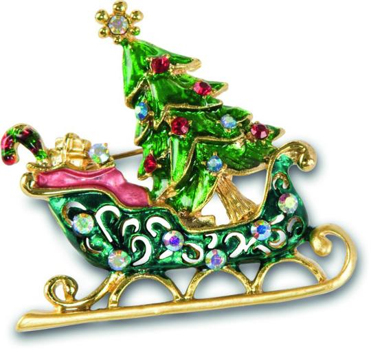 Brosche Weihnachten »Schlitten«.