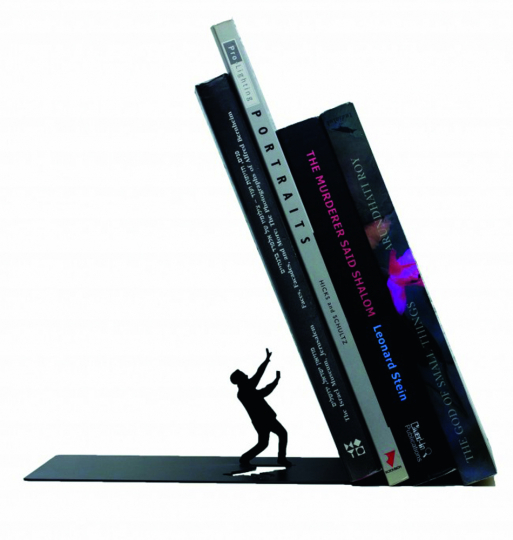 Buchstütze »Fallende Bücher«.