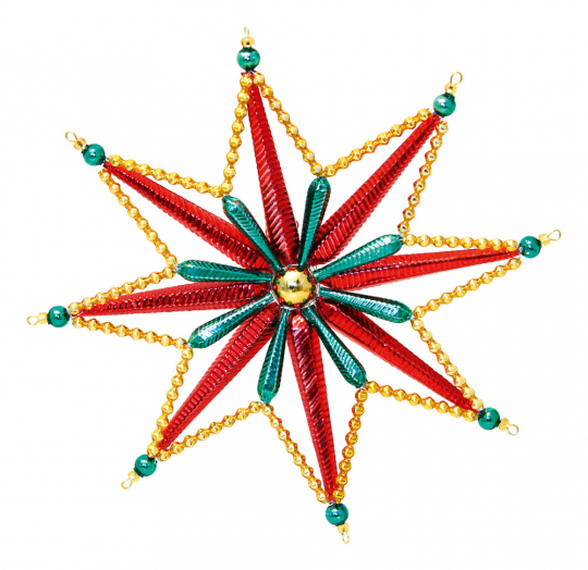 Christbaumschmuck. Stern aus Glasperlen rot-grün-gold.