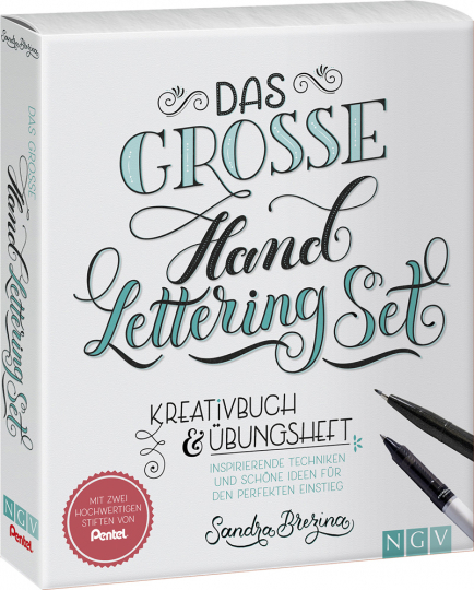 Das große Handlettering-Set. Kreativbuch & Übungsheft + 2 Pentel-Stifte.