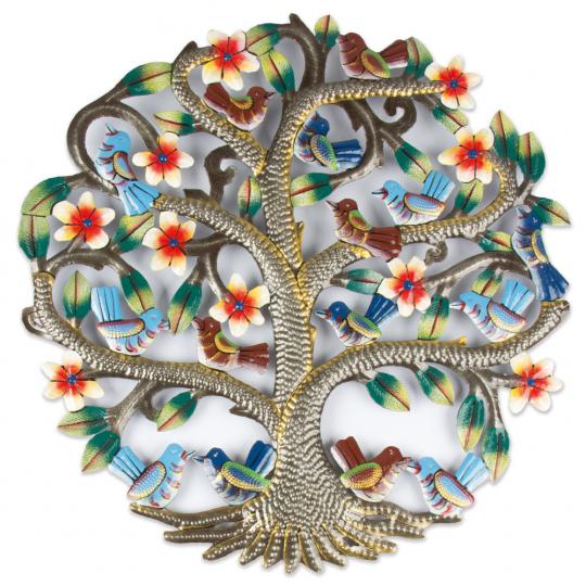 Eisen Ornament »Baum mit Vögeln und Blüten«.