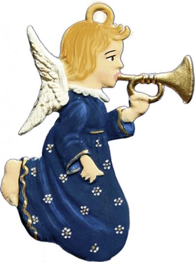 Engel mit Trompete. Zinnanhänger.