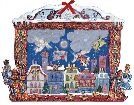 Engel über der Stadt Adventskalender.