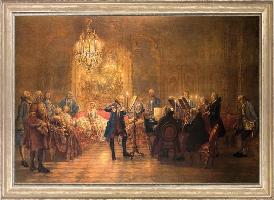 Flötenkonzert Friedrichs des Großen in Sanssouci. Adolph von Menzel (1815-1905).