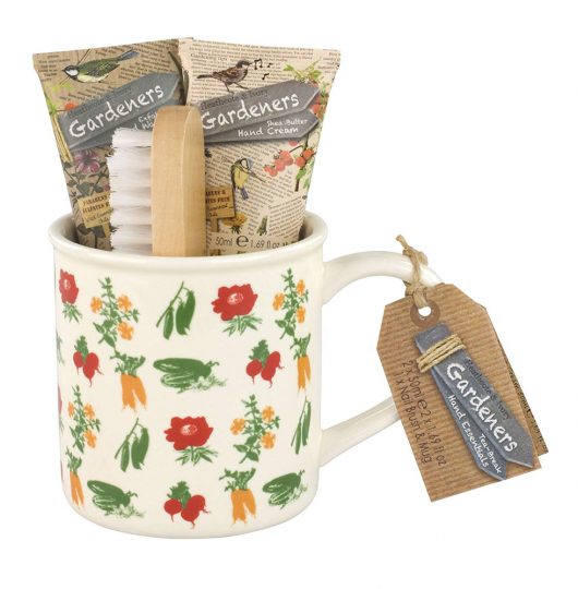 Gärtnergeschenk Tasse, Handcremes & Bürste.