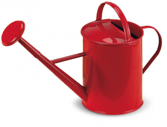 Gießkanne aus Metall, rot.
