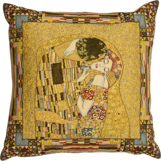 Gobelin Kissenbezug Gustav Klimt »Der Kuss«.