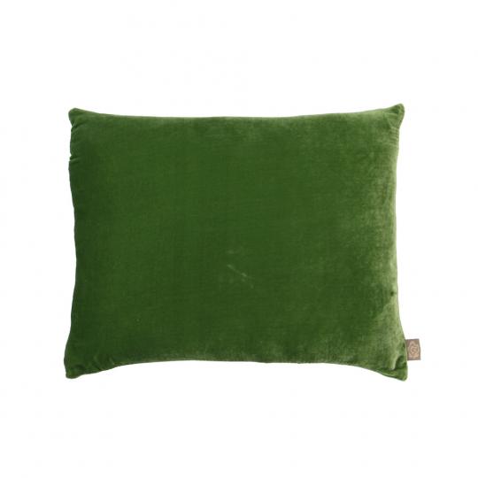 Grünes Samtkissen.