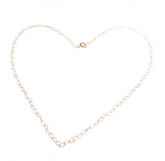 Herzchenkette aus Silber und Gold.