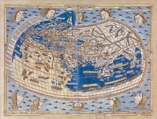 Johannes Schnitzer. Weltkarte aus »Cosmographia« (1482).