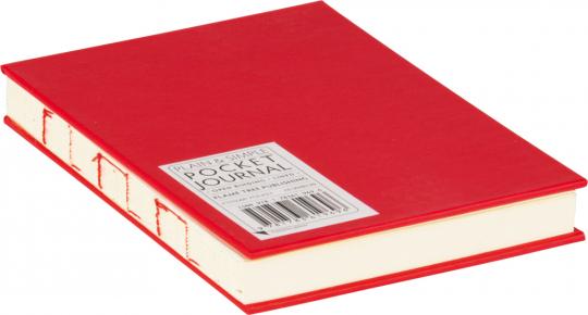 Kleines Skizzenbuch mit linierten Seiten, rot. Koptische Bindung.