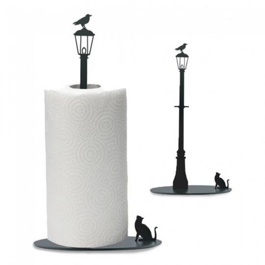 Küchenrollenhalter »Vogel & Katze«, schwarz.