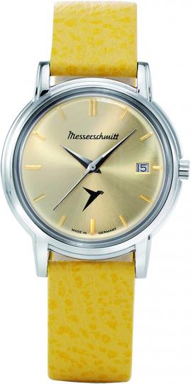 Messerschmitt Kabinenroller-Armbanduhr. Gelbes Lederband.