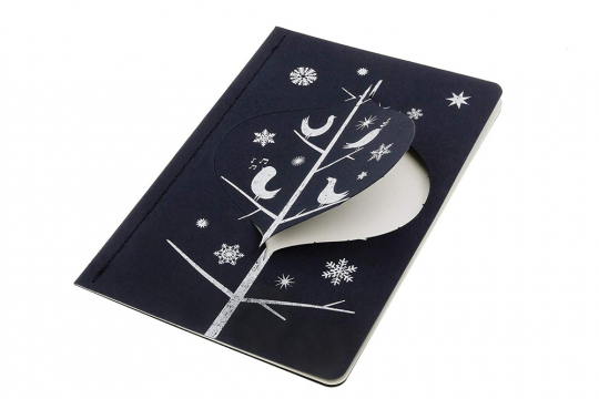 Moleskine Ornament Postkarte »Spottdrosseln«, groß.