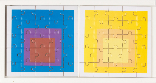 MoMA Josef Albers Holzpuzzle-Set. 6 Puzzle in einer Box.
