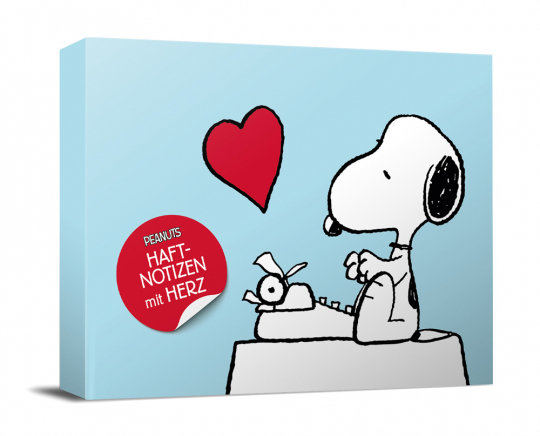 Peanuts Haftnotizen mit Herz. Notizzettel-Box.