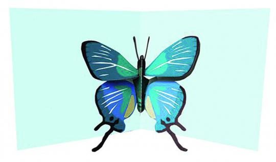Pop-Up Grußkarte Blauer Schmetterling.