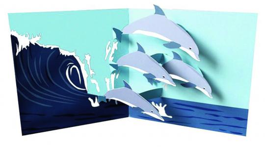 Pop-up-Grußkarte »Delfine«.