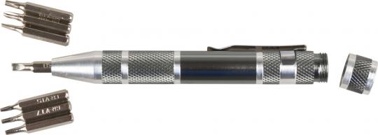 Präzisionsschraubendreher-Stift mit acht Bits.