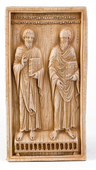 Relief mit den Aposteln Johannes und Paulus. Byzantinisch, 10. Jahrhundert.