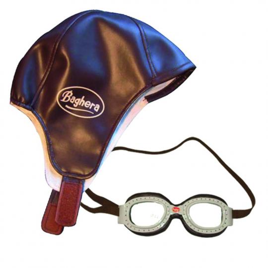 Rennfahrer Kostüm Kinder: Kappe & Brille.