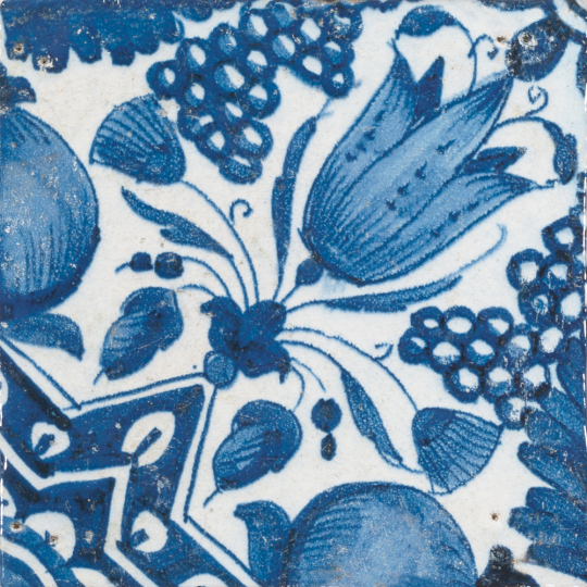 Replik Delfter Fliese »Eine Tulpe«, blau/weiß.