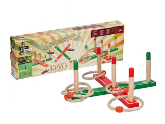 Ringspiel Holz 12-teilig, rot/grün.