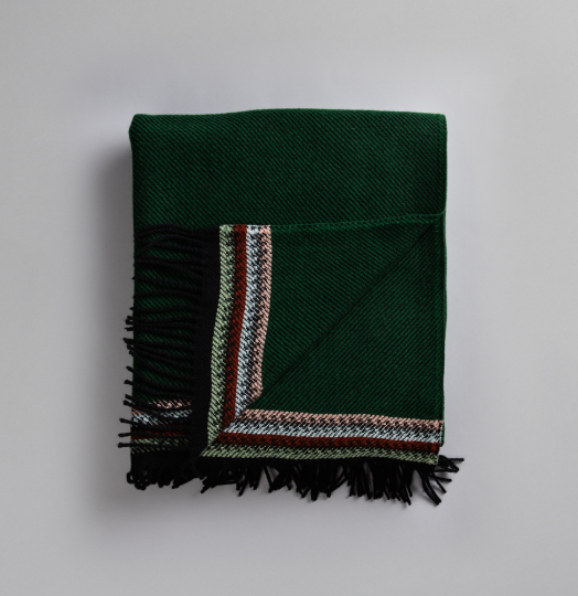 Røros Tweed Lammwolldecke »Åkle«, dunkelgrün.