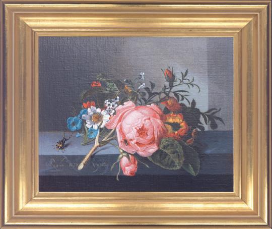 Rosenzweig mit Käfer und Biene. Rachel Ruysch (1664-1750).