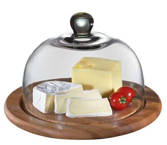 Runde Käseglocke aus Akazienholz mit Glasdeckel.