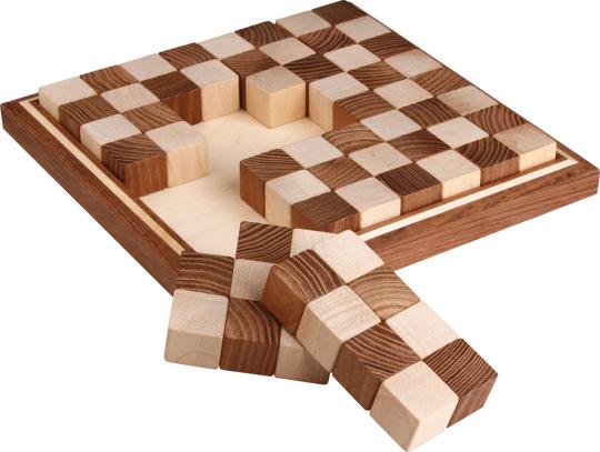 Schachbrett »Puzzle« aus Ahorn und Akazie.