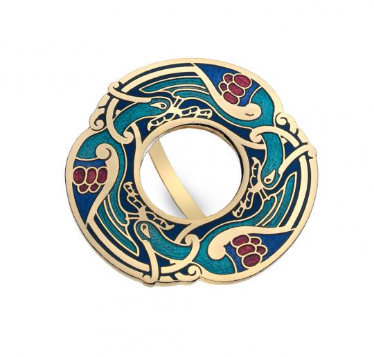 Schal Ring »Keltische Vögel«, türkis.