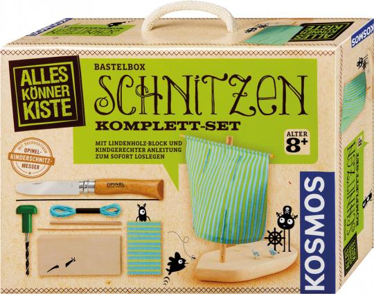 Schnitzen Komplett-Set. Mit Lindenholz-Block und kindgerechter Anleitung zum sofort Loslegen.