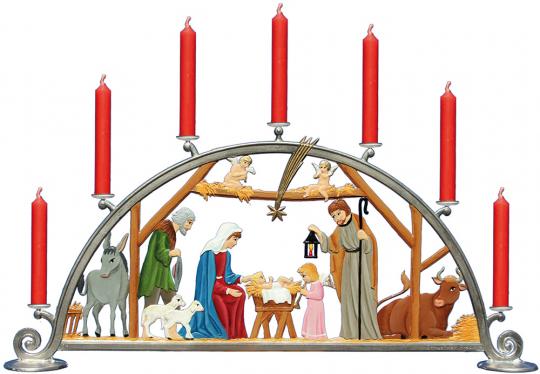 Schwibbogen »Krippe« für 7 echte Kerzen.