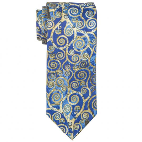 Seiden-Krawatte Gustav Klimt »Lebensbaum«, blau.