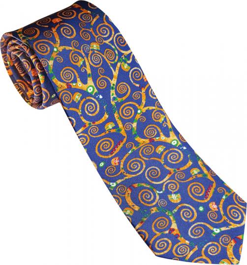 Seidenkrawatte Gustav Klimt »Lebensbaum Blau«.