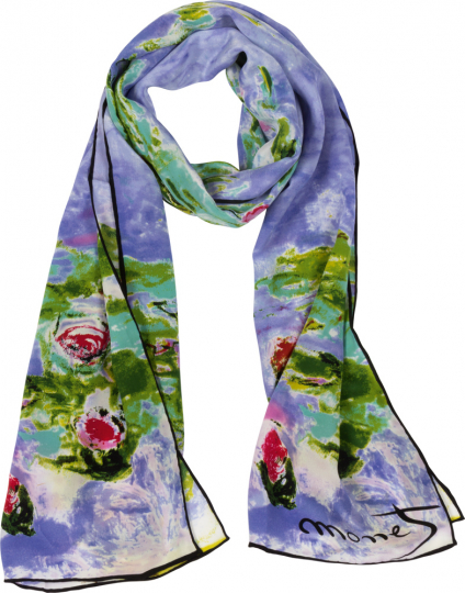 Seidenschal Claude Monet »Seerosen«, blau.