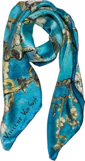 Seidentuch Vincent van Gogh »Mandelbaum«, blau.