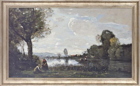 Seinelandschaft bei Chatou. Camille Corot (1796-1875).