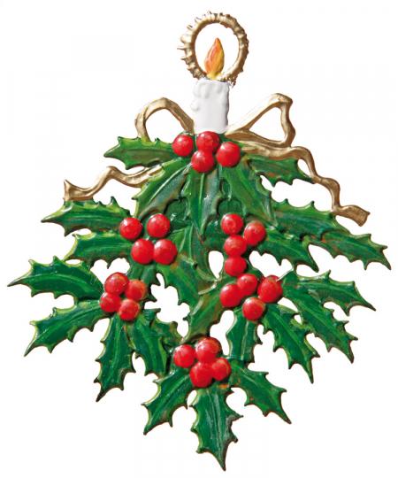 Stechpalmenzweig. Weihnachtsanhänger.