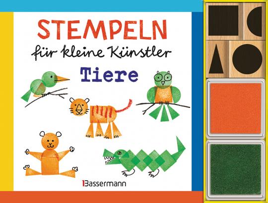 Stempeln für kleine Künstler. Tiere-Set. Mit 4 Holzstempeln und 2 Stempelkissen.