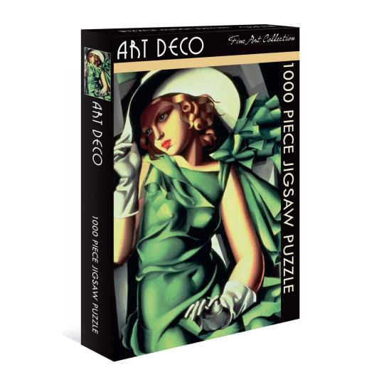 Kunst-Puzzle Tamara De Lempicka. »Mädchen in grünem Kleid«.