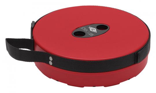 Teleskop-Hocker, rot/schwarz.
