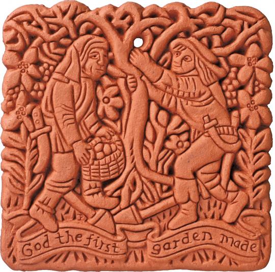 Terracotta Wandfliese. Mittelalterlicher Garten.